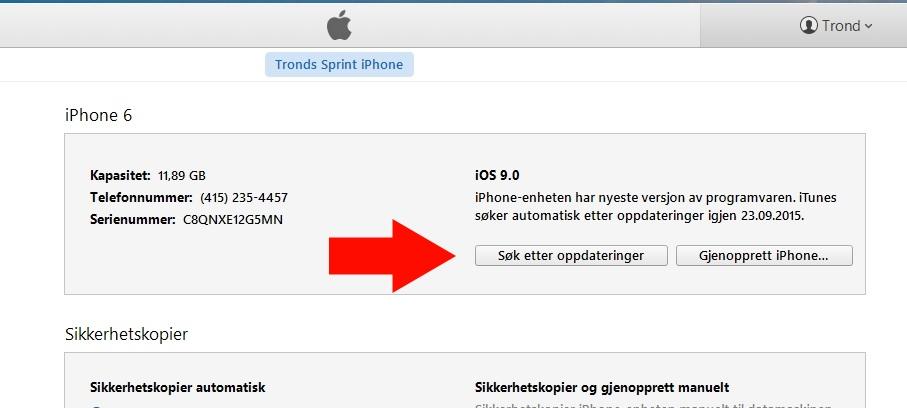 Hold inne shift-knappen og trykk Søk etter oppdateringer. Pek deretter til .ipsw-filen du lastet ned for å oppgradere fra iOS 8.