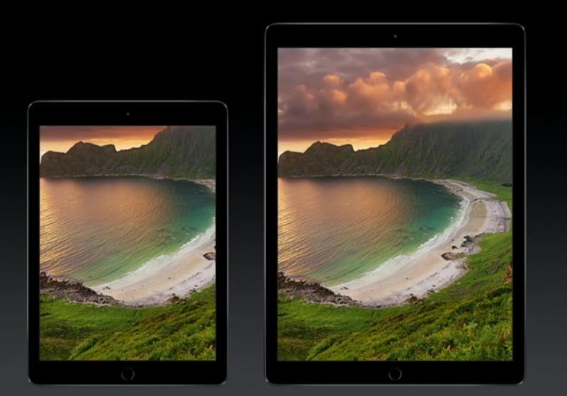iPad Air 2 til venstre, iPad Pro til høyre.