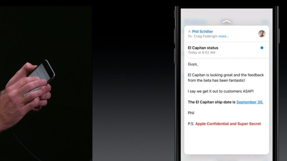 Hent opp mer info ved å trykke litt hardere på iPhone 6s-skjermen.