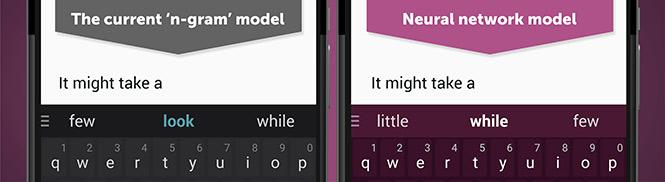 Sammenligning mellom vanlige SwiftKey og Neural-utgaven.