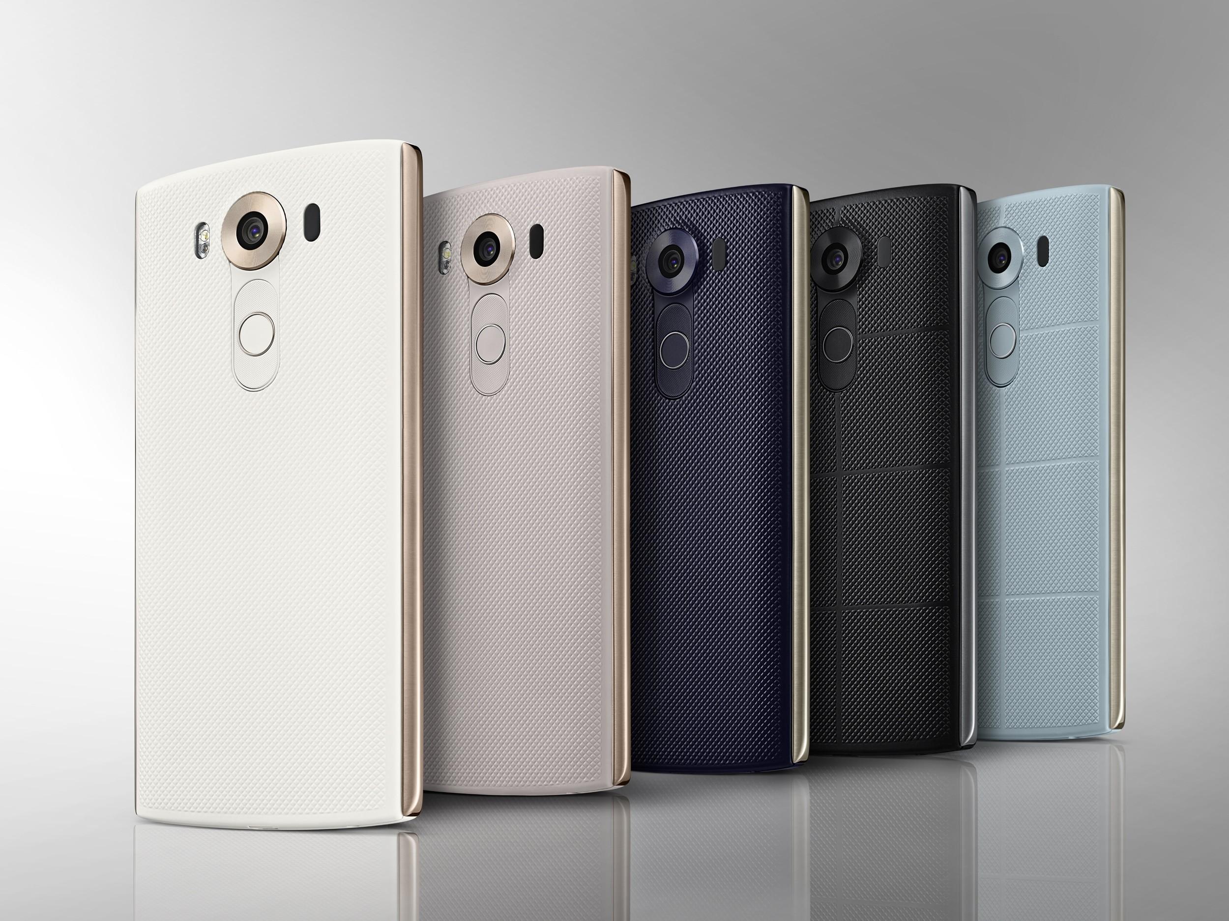 LG V10 kommer i fargene Space Black, Luxe White, Modern Beige, Ocean Blue and Opal Blue.