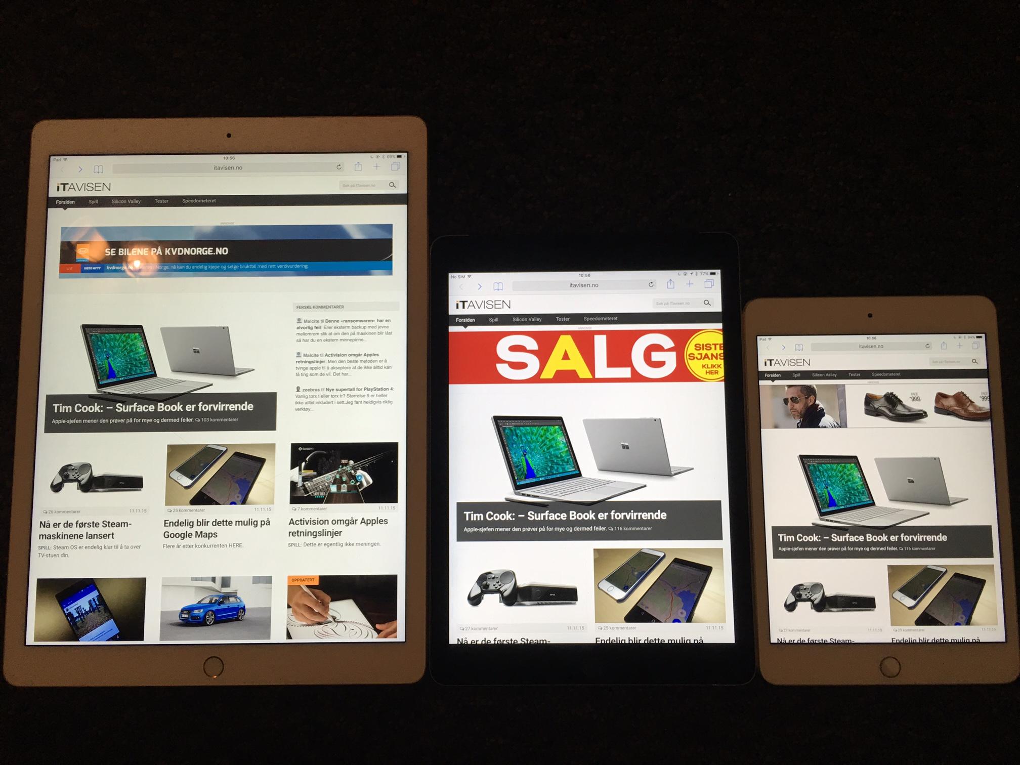 Fra venstre: iPad Pro, iPad Air 2 og iPad Mini 4.