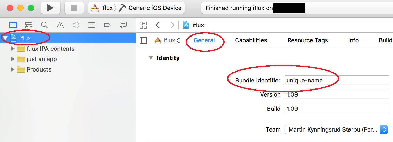 Targets – iflux – General – Identity og gi «Bundle Identifier