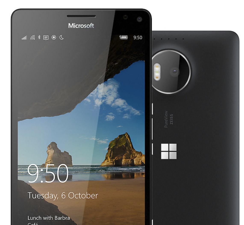 """«Lev på dine egne premisser med Lumia 950 XL. Den har en elegant 5,7"""" Quad HD-skjerm og en lynrask åttekjernes prosessor. Kameraet på 20 MP har Zeiss-optikk og en trippel naturlig LED-blits. I tillegg fungerer den sømløst med Windows 10-enheter, og er telefonen som fungerer som en PC.»"""
