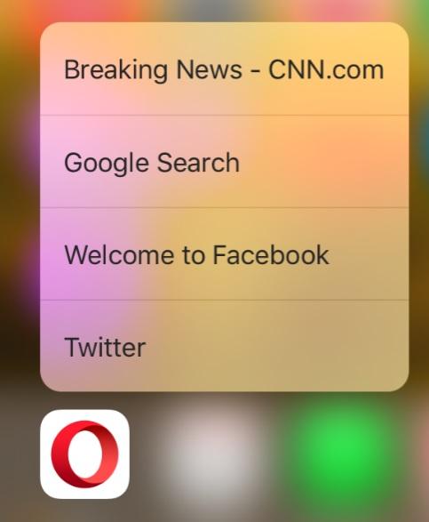 Opera Mini 3D Touch.