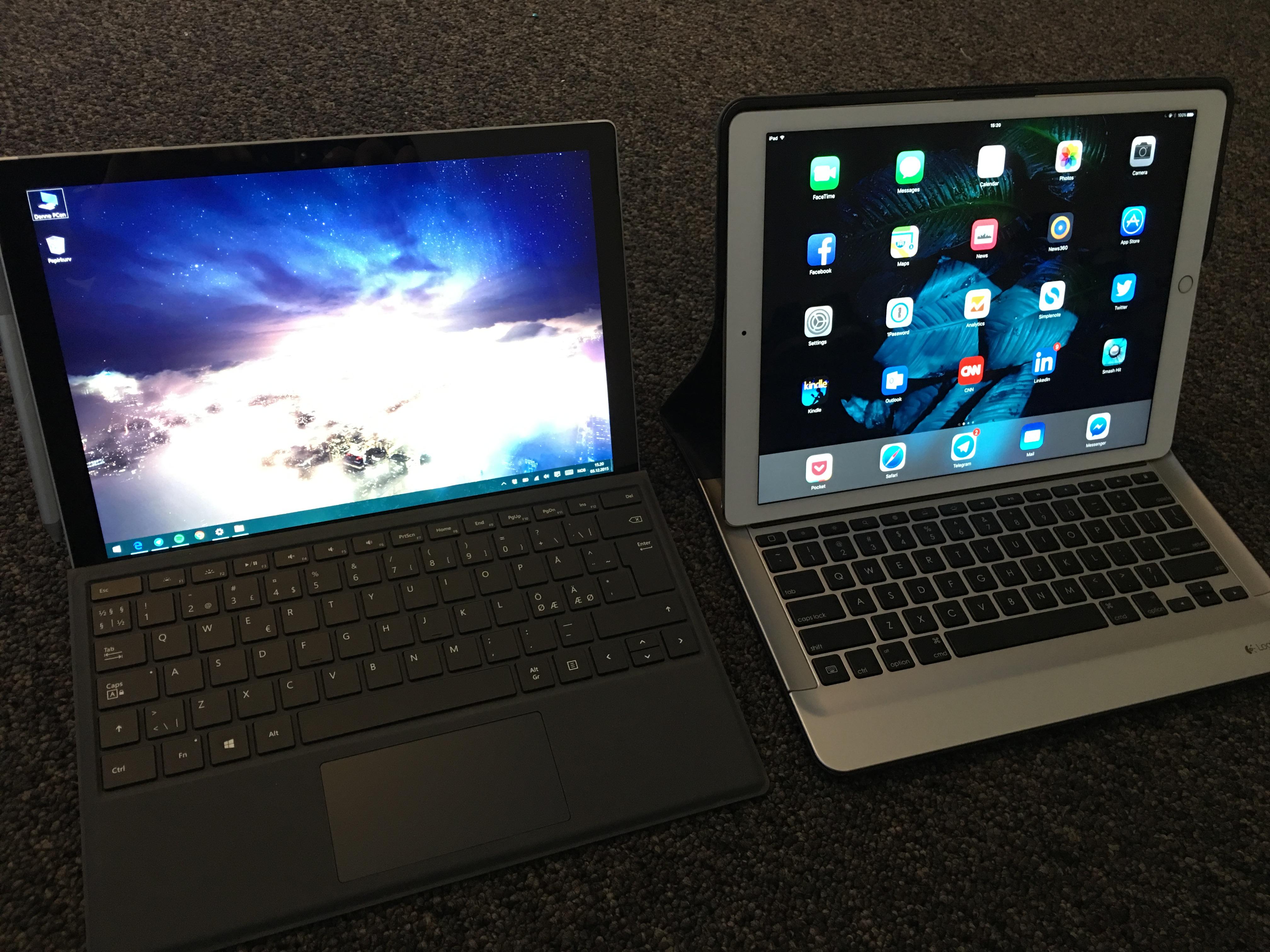 Surface Pro 4 er lettere å ha med seg på tur enn iPad Pro - lettere enn dette bildet avslører.