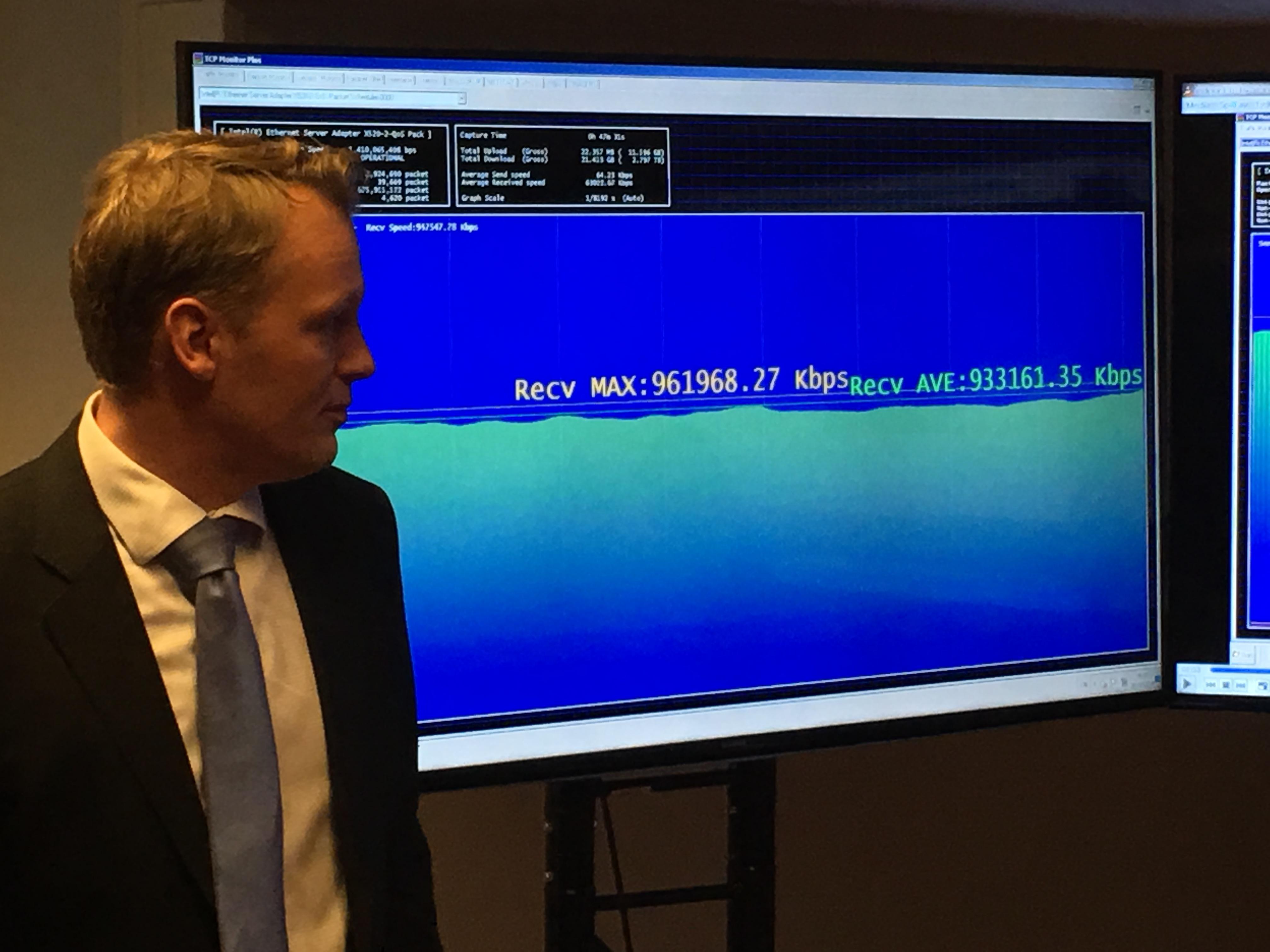 NetCom klarte ikke å nå 1Gbps samtidig som hele Norge var på nett i 14:20-tiden i dag.