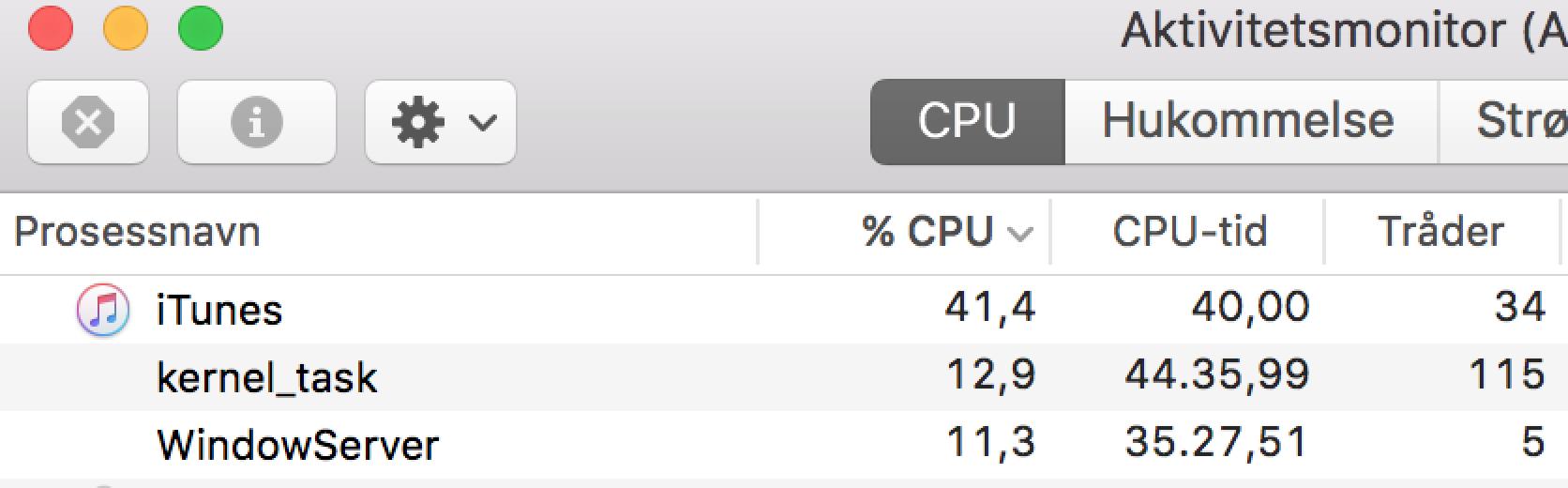 Nyeste OS X (10.11.2) i kombinasjon med iTunes Store åpent medfører masse CPU-utnyttelse, og derfor forringet batterilevetid.