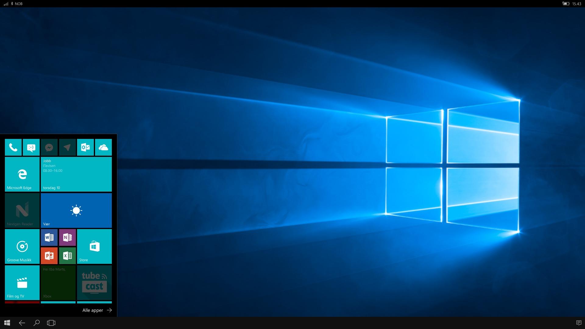 Appene som er grå kan ikke åpnes på den eksterne skjermen.