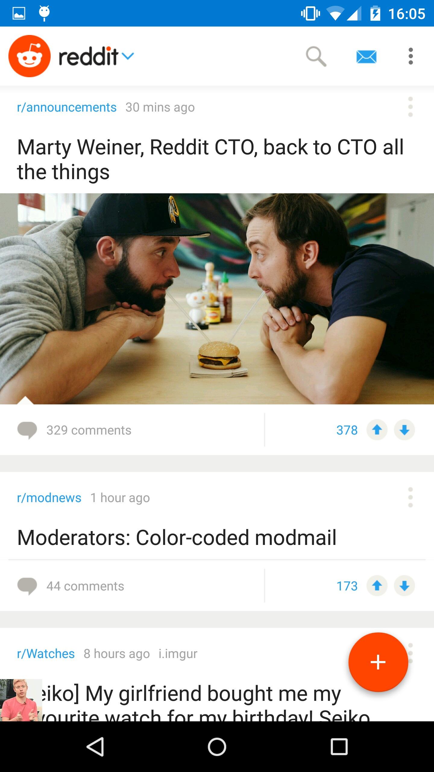 Slik ser Reddit ut på Android.