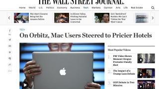 Mac-brukere sendt til dyrere hoteller.