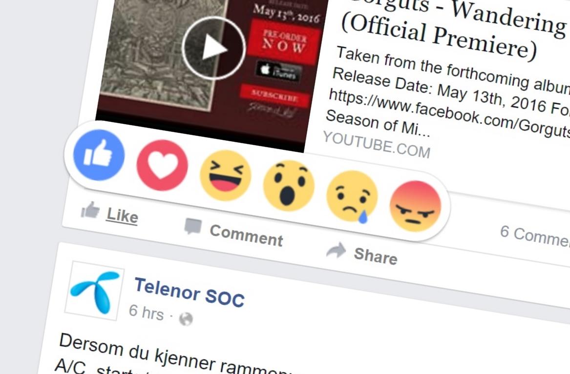 De nye Facebook-reaksjonene er nå tilgjengelig i hele verden. Det melder Facebook.