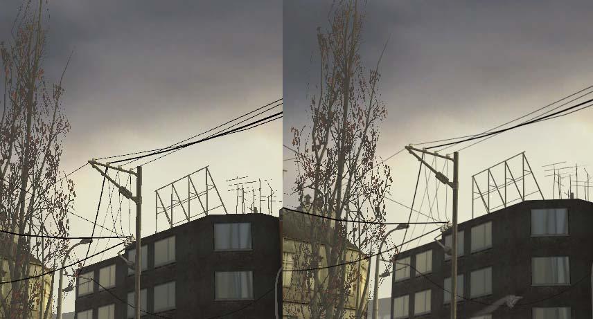 Spesielt streker som strømkablene her i Half-Life 2 blir bedre med anti-aliasing.