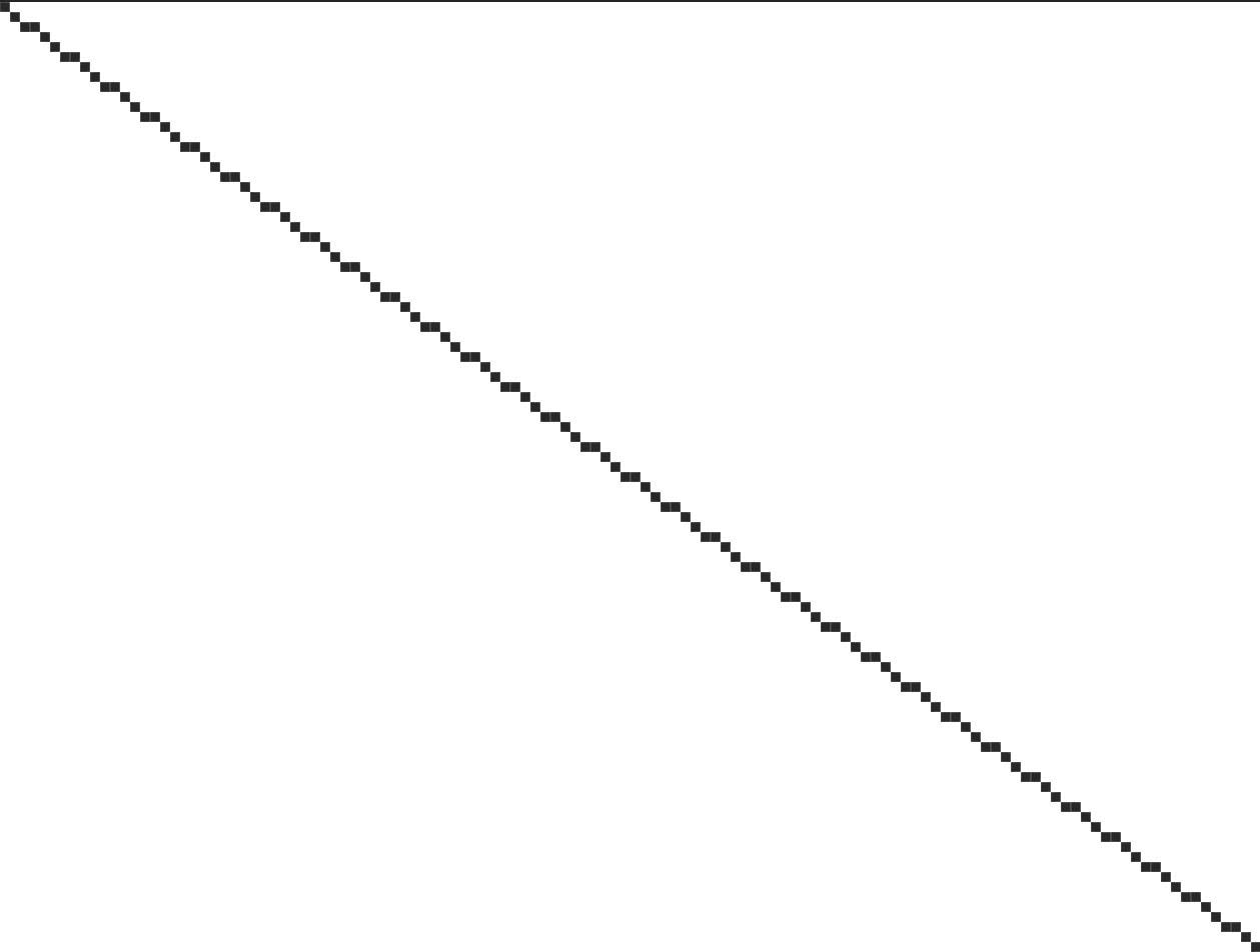 Slik ser en skråstrek på skjermen ut forstørret 1000 prosent. Du kan se tydelig hvor hakkete den er.