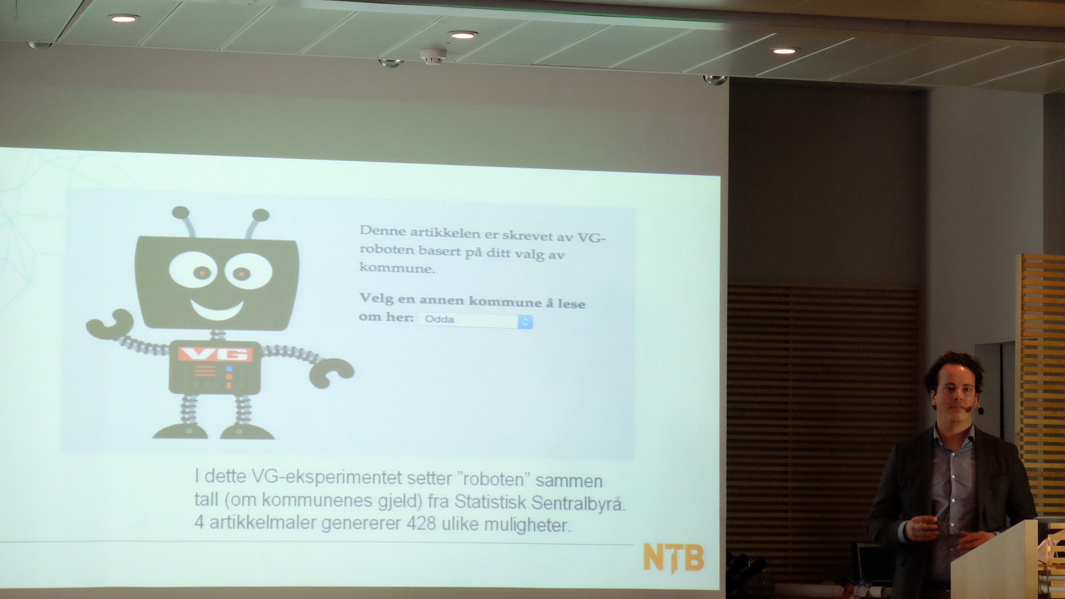 Også VG har en enkel journalistrobot.