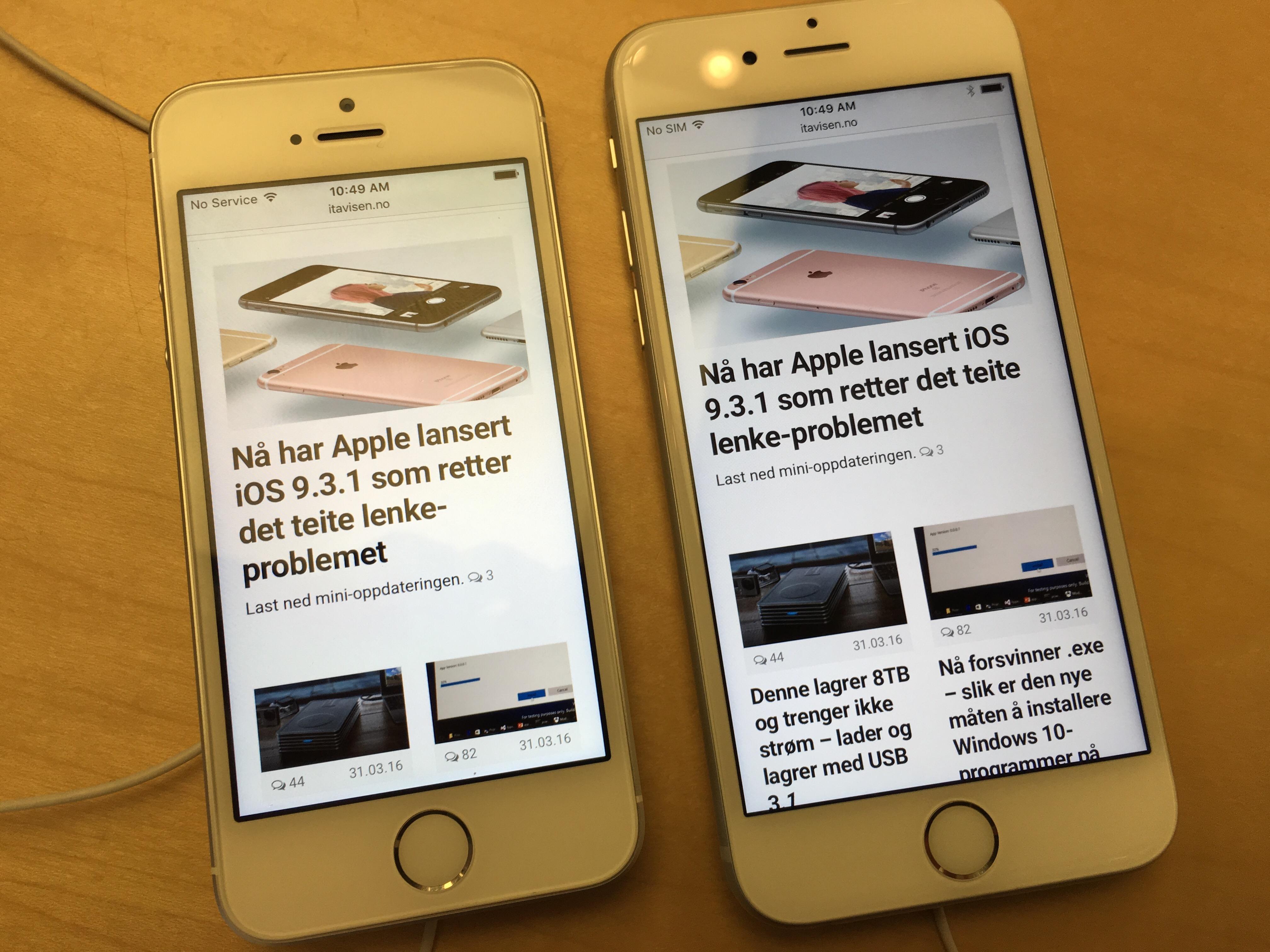 ITavisen på SE og iPhone 6s.