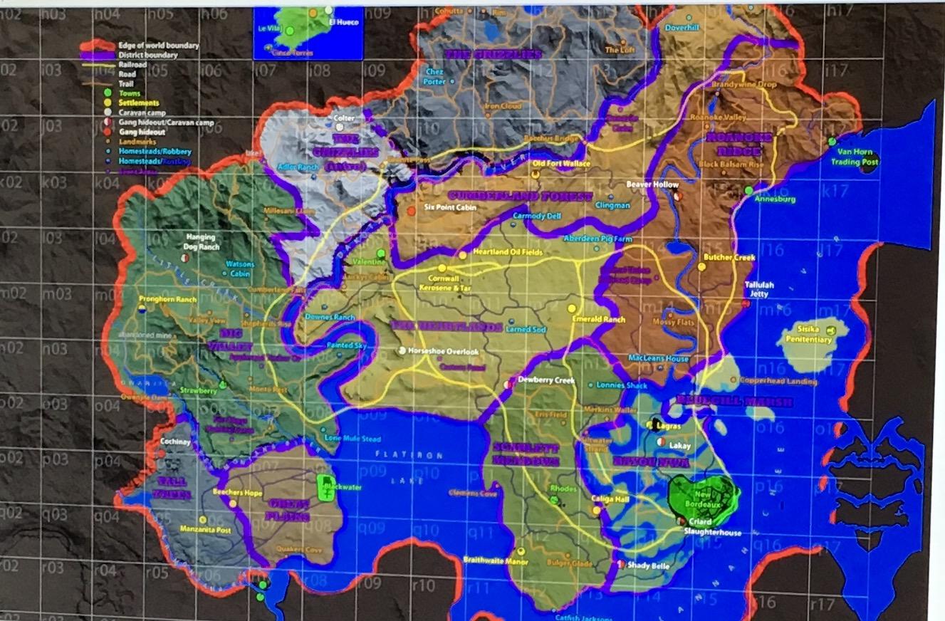 Det nye Red Dead kartet som er lekket på nettet.