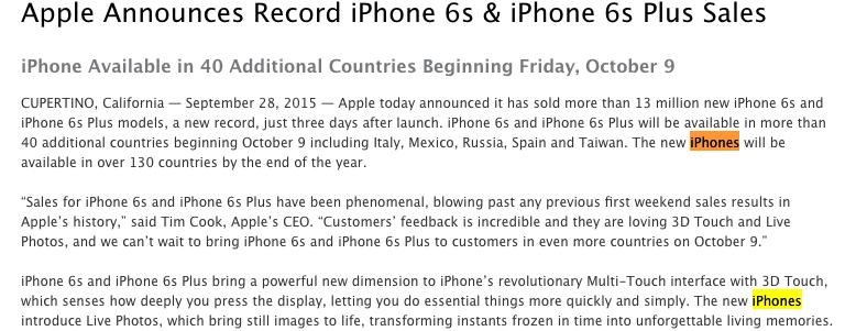 Med så mange produkter, er det lett å glemme selv for Apple hvordan de skriver det korrekt.
