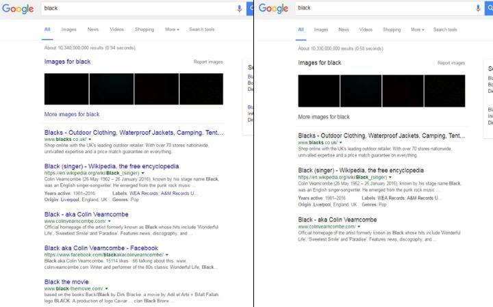 Googles blå og sorte lenker.