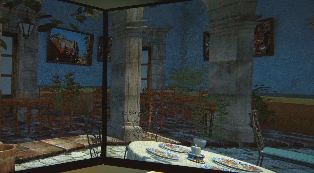 Her kan vi se at bildene på to skjermer er kinkige, spesielt på gulvet ved kolonnen der vinkelen blir feil. Dette er veldig kjekt for de med flere skjermer, for eksempel 3 skjermer, siden det nå skal være mulig med Pascal å regne ut et bilde for hver skjerm - og dermed ta i betraktning synsvinkel og lignende.