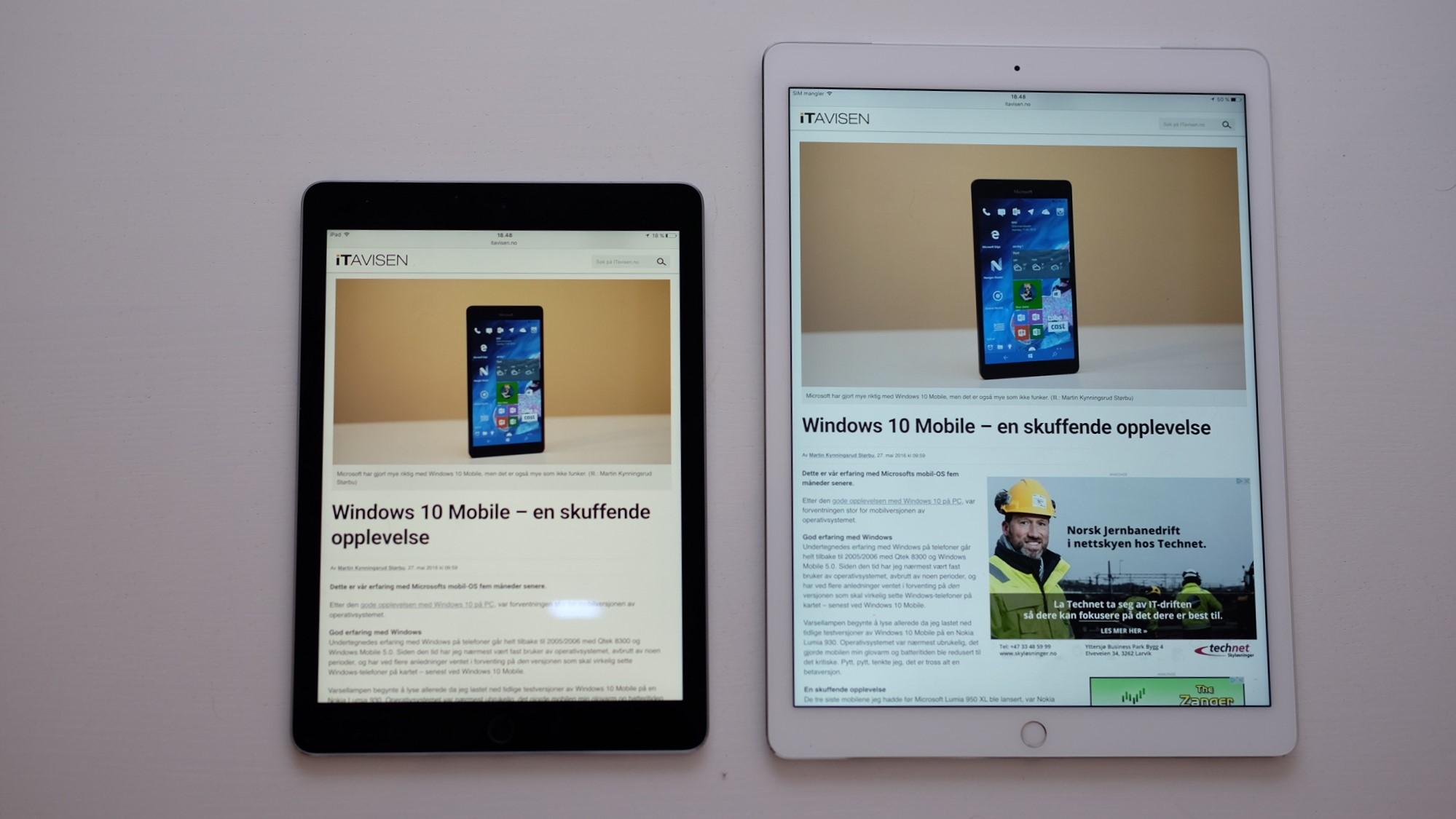 Til venstre: iPad Pro 9,7 med True Tone. Høyre: iPad Pro 12,9 uten True Tone.