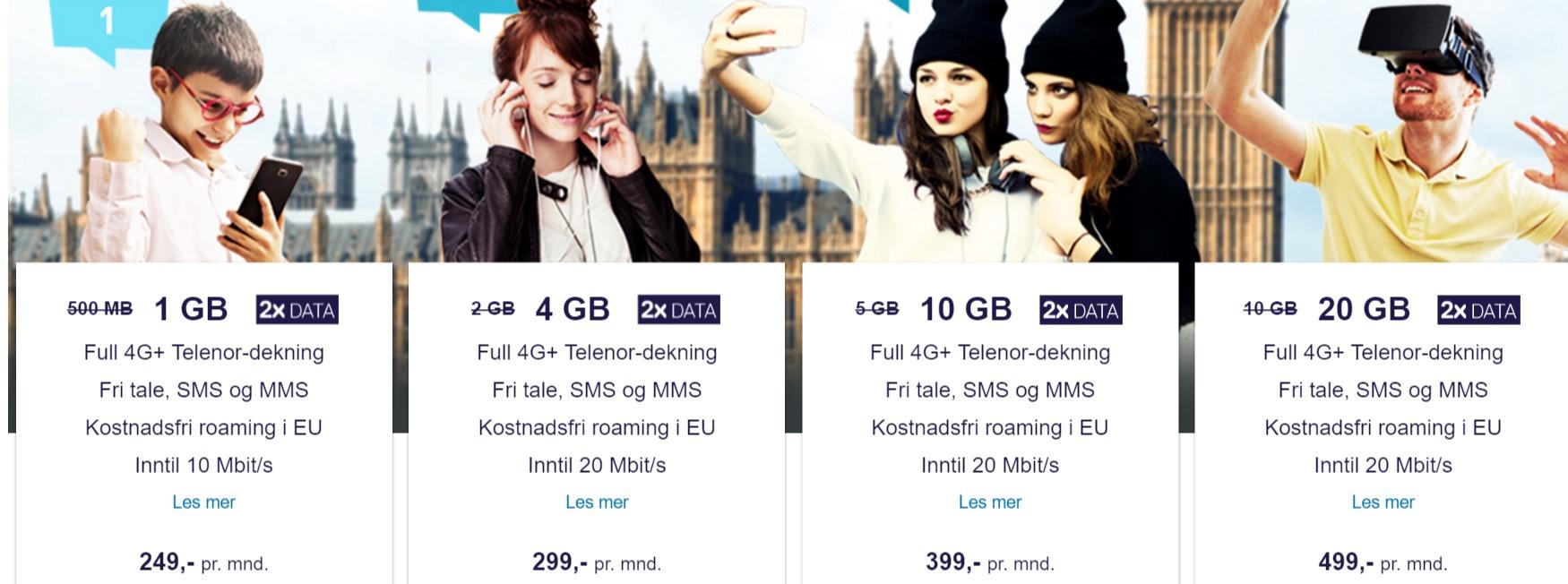 Komplett Mobil lanseres med fire forskjellige abonnementer.