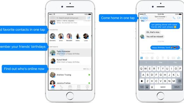 Slik blir den nye startsiden i Messenger-appen.