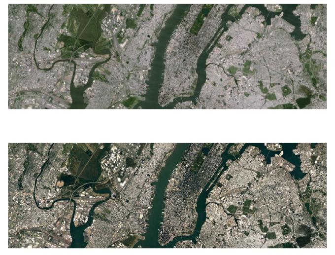 Før og etter bilde av New York.