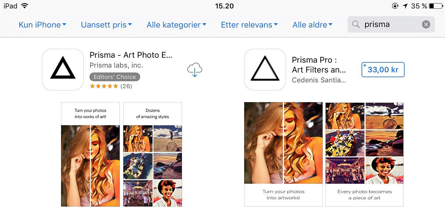 Kloneappen til høyre har lurt seg inn i App Store.