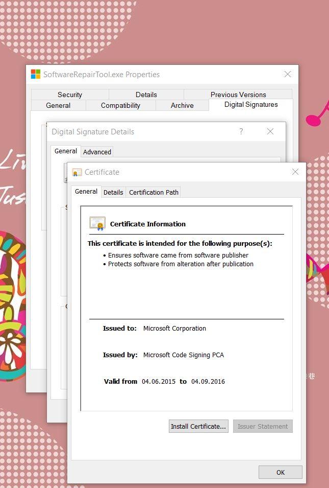 Sertifikatene som applikasjonen er signert med stammer fra Microsoft.