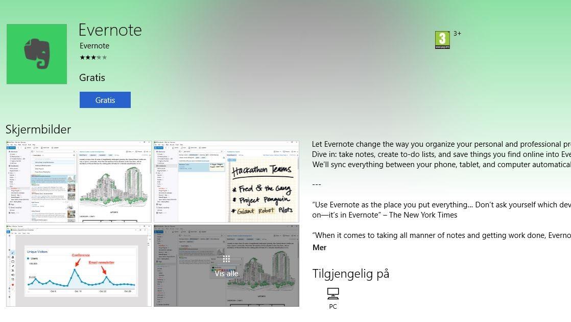 Evernote er nå tilgjengelig via Windows Store.