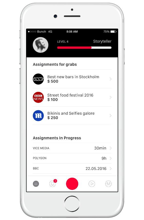 Slik ser mobil-appen ut når man er innholdskreatør. Dette er også en mockup, inkludert selskapene i listen.