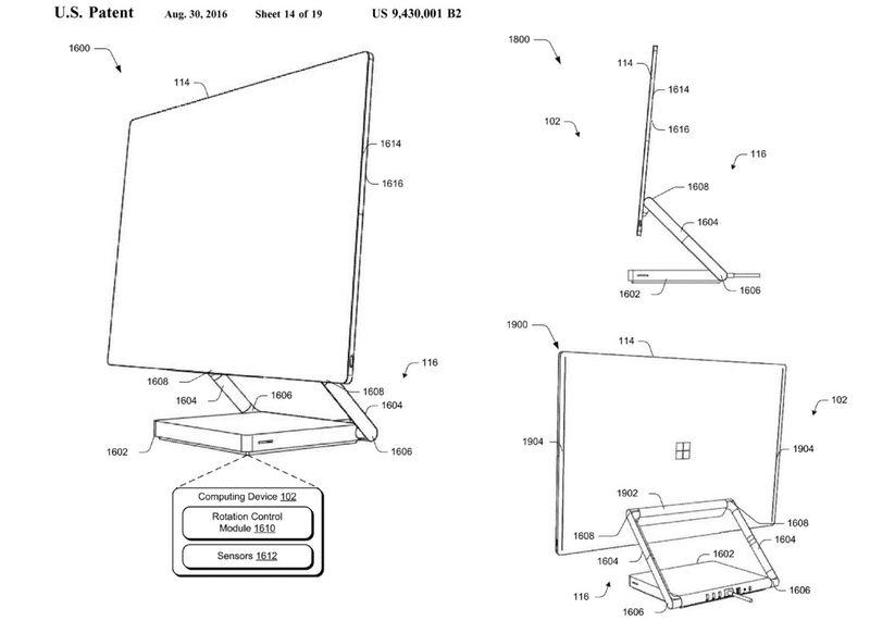 Disse patentbildene fra Microsoft hinter til en Surface alt-i-ett.