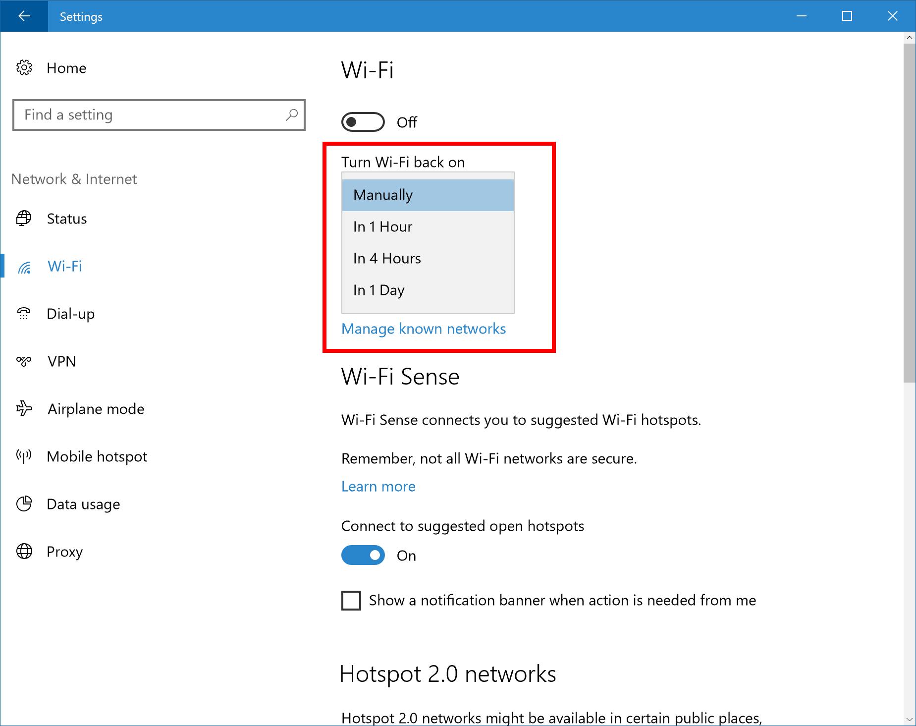 Ny WiFi-innstilling.