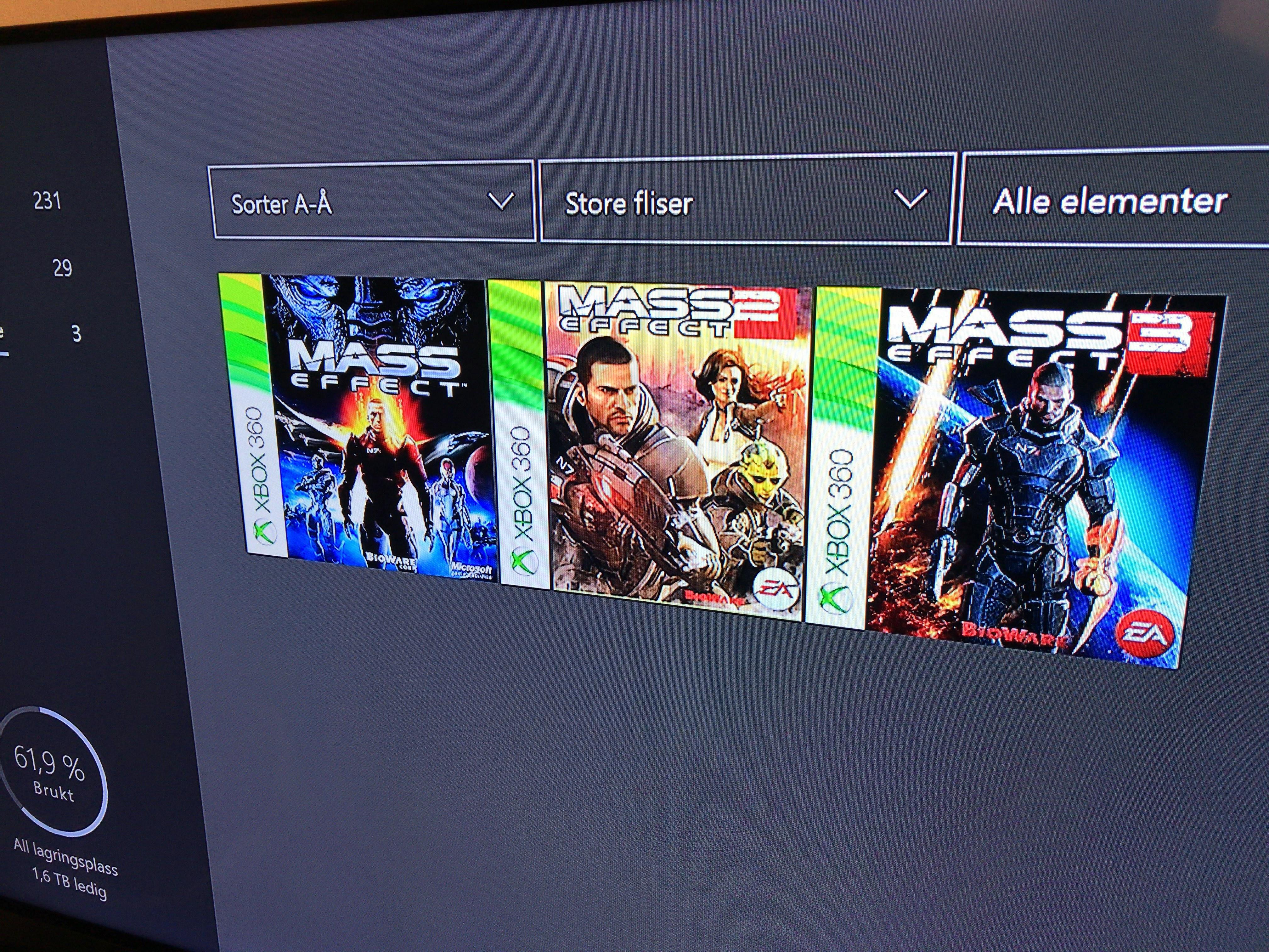 Mass Effect-trilogien dukket opp under klar til å installere-listen på vår Xbox One.