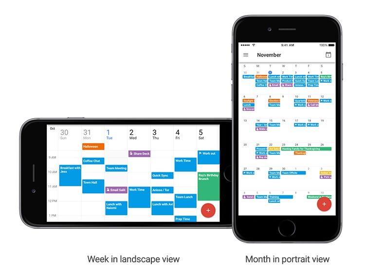 Gmail-kalender har en ny landskapsvisning.