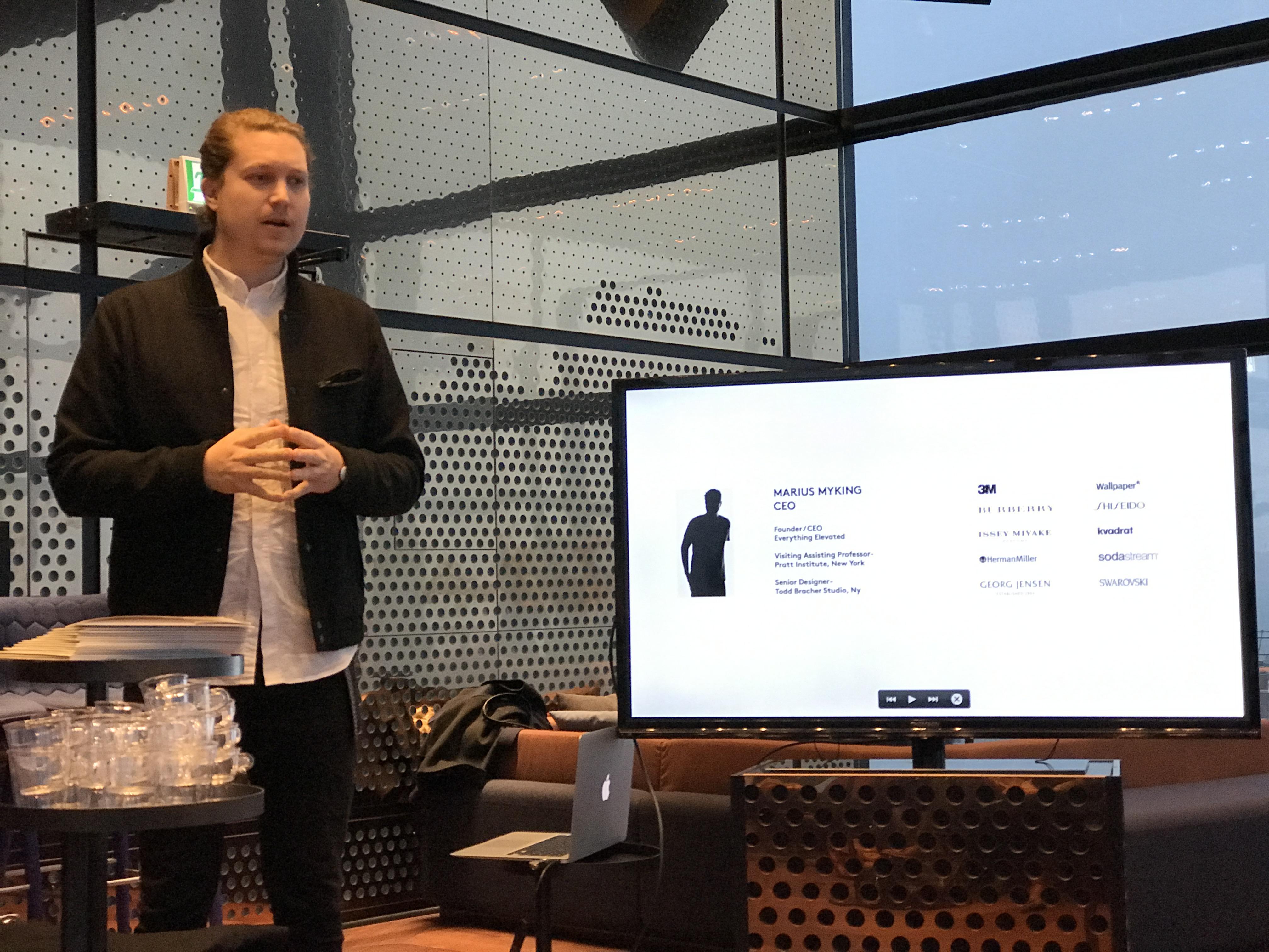 Marius Myking er CEO for designselskapet Everything Elevevated og var hentet inn for å snakke hva godt design er.