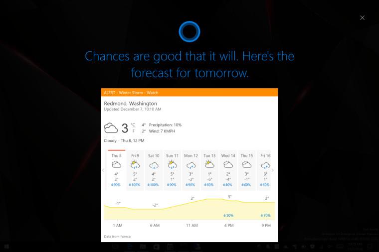 Cortana i fullskjerm.