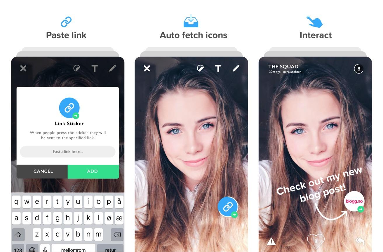 Gobi støtter interaktive stickers, det gjør ikke Snapchat, i hvert fall ikke enda.