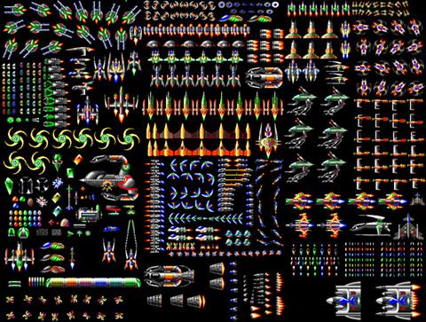 Et utvalg fiendeskip fra spillet som skulle vises frem.