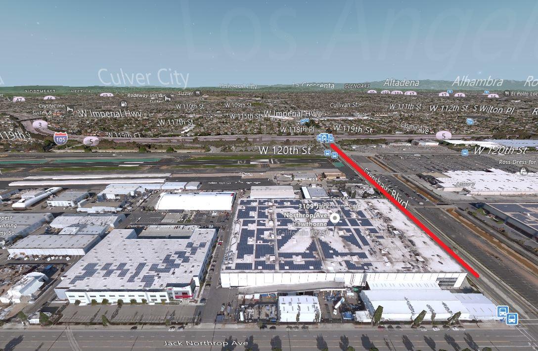 Ifølge Musk går den første tunnelen fra SpaceX-hovedkvarteret til 105 Freeway.