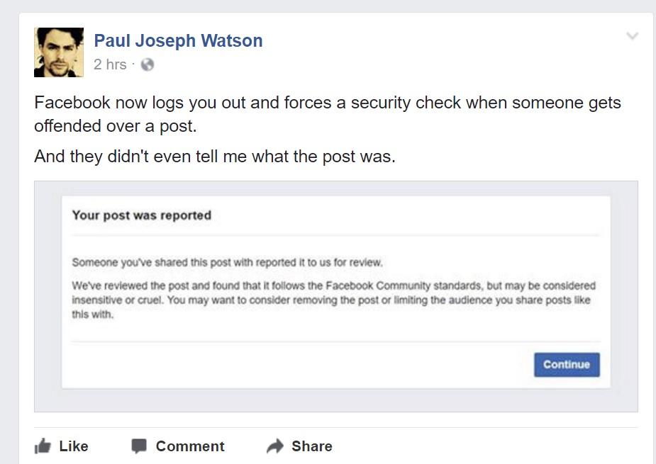 Watson er ikke happy med måten Facebook prøver å sette kjepper i hjulene for andres meninger.