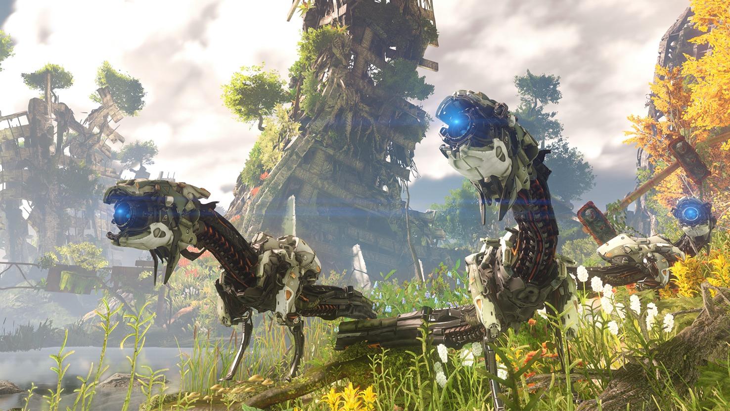 I Horizon-verdenen møter vi på mekaniske dinosaurer.