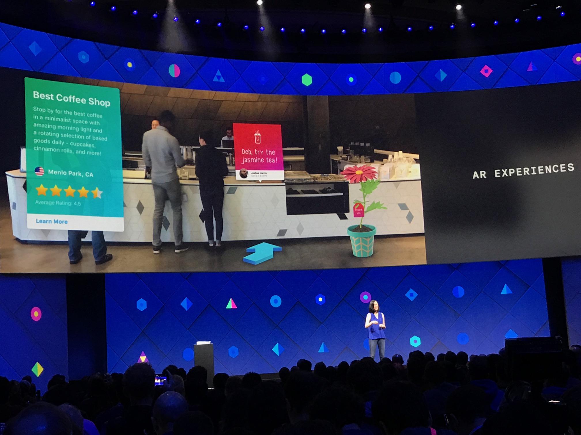 Eksempel på hva Facebooks kamera-app med utvidet virkelighet kan gjøre for den lokale kaffesjappa.