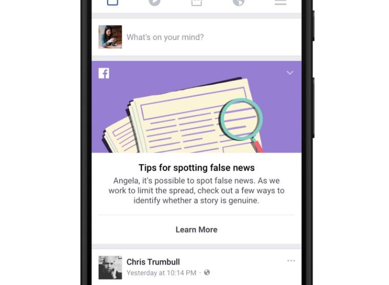 Isamarbeid med organisasjonen First Draft har Facebook også rullet ut et verktøy for å lære folk åoppdage falske nyheter. Verktøyet er å finne på toppen av nyhetsstrømmen i 14 land.