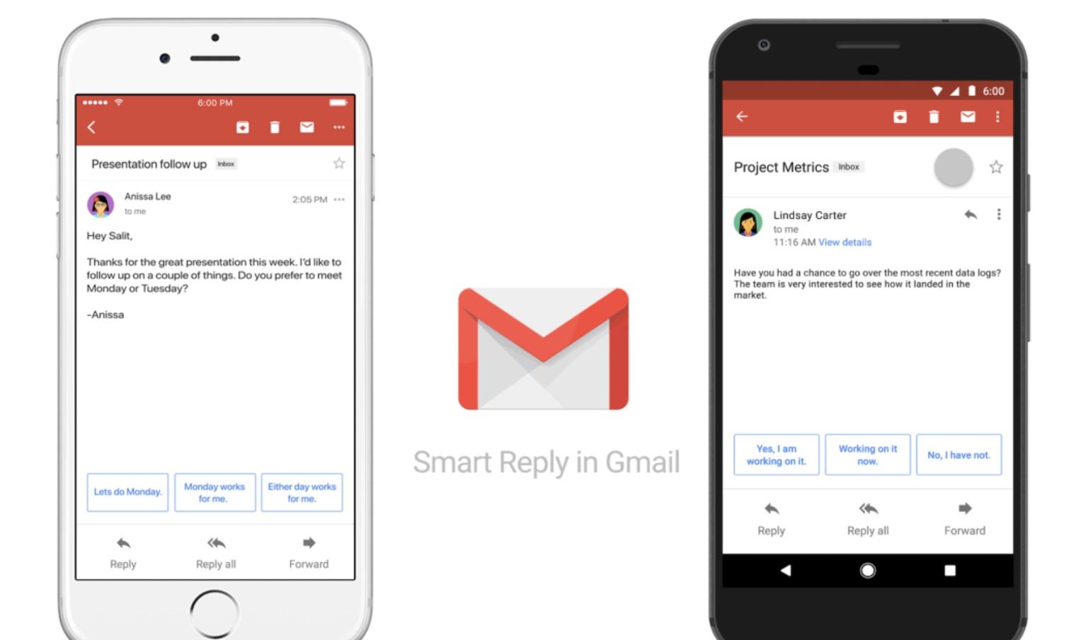 Smart Reply-funksjonen rulles ut i en app-oppdatering i kveld.