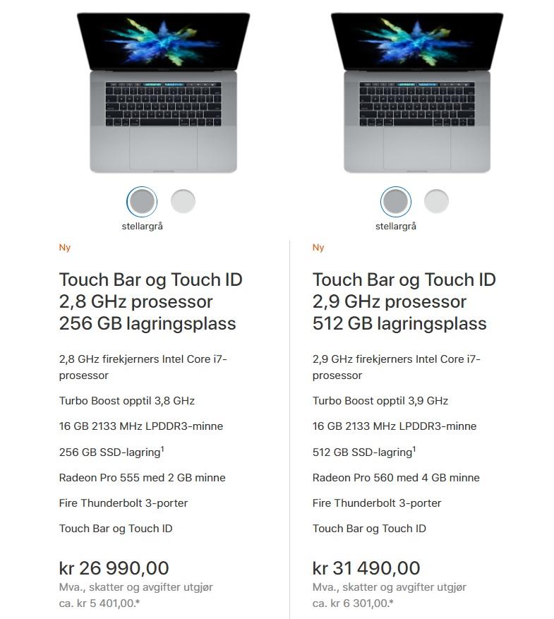 """MacBook Pro 15"""" norske priser."""