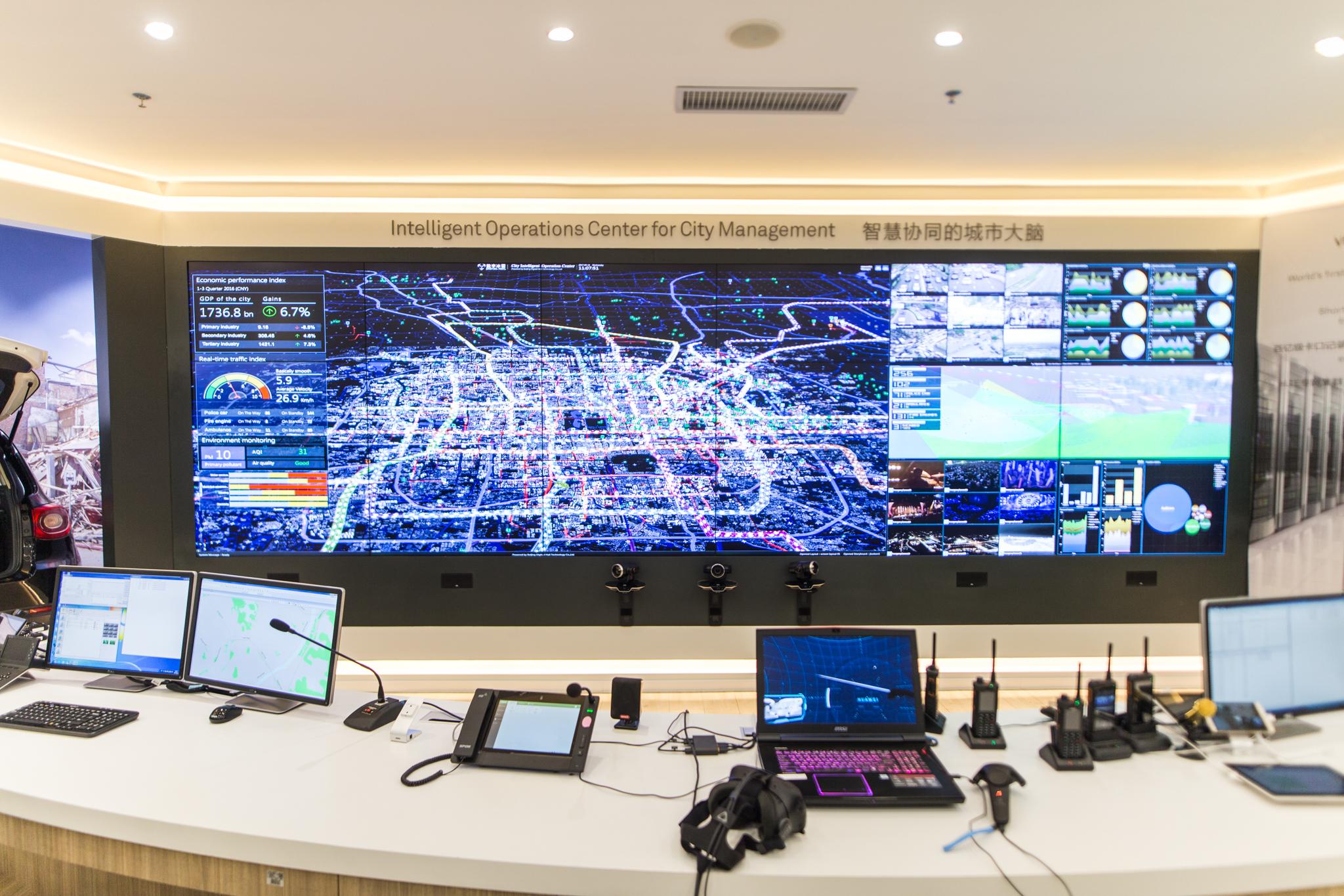 Kontrollsystemet som overvåker byen.