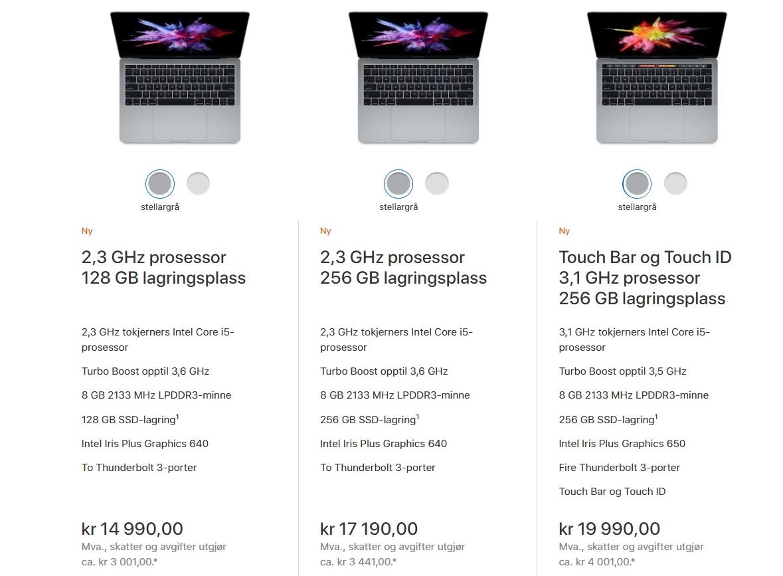 """MacBook Pro 13"""" norske priser."""