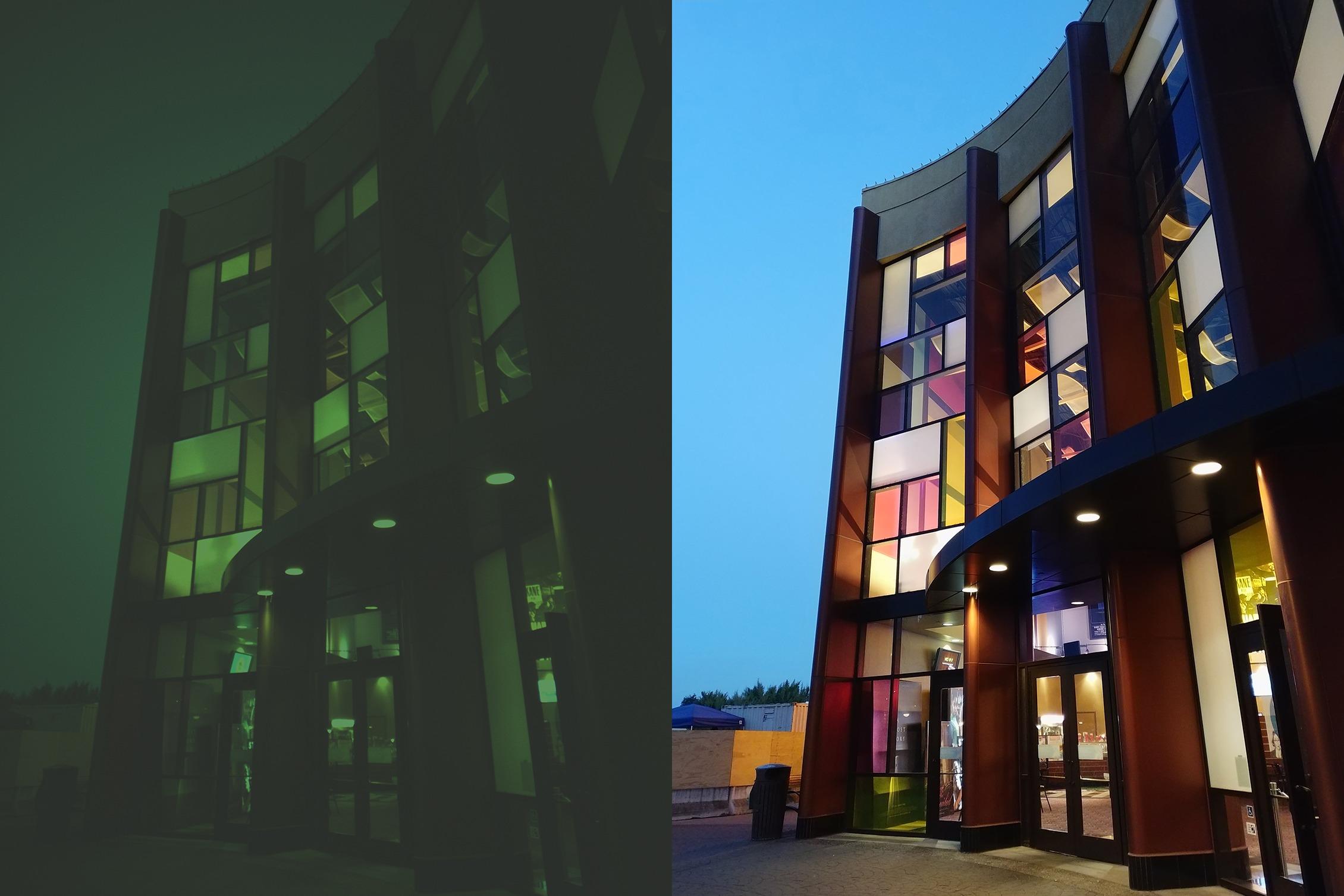 Bildet til venstre er RAW og ikke tuklet med. Det til høyre er et resultat av de to kameraene sitt samarbeid.